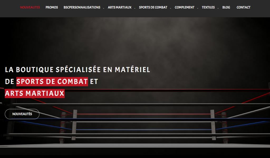 Page d'acceuil boutique des sports de combat - personnalisations textiles